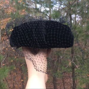 Vintage Suzi B. Black Velvet Pillbox Veil Hat